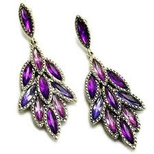 purple earrings maybelle s purple rhinestone cluster leaf design earrings
