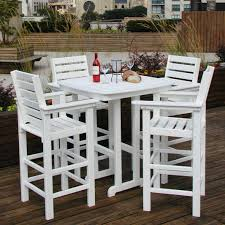 Wood Patio Dining Table by Polywood U0026reg Captain 5 Pc Recycled Plastic Bar Height Dining Set