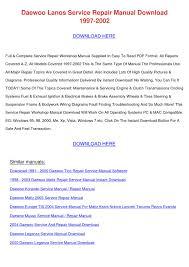 daewoo lanos service repair manual download 1 by josefinahogan issuu
