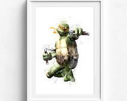 Ninja Turtle Wall Decor Teenage Mutant Ninja Turtles Print Watercolor Tmnt Gift Tmnt