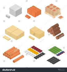 construction material isometric view supply renovation stock