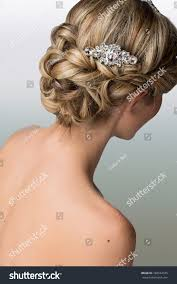 bridal back hairstyle bridal hairstyle vintage style hair accessories stock photo