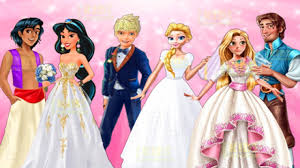 disney princesses elsa jasmine rapunzel u0026 anna wedding day