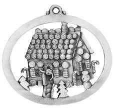 gingerbread house pewter xmas ornament handmade usa