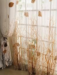Fall Color Curtains Elleweideco Modern Autumn Leaf Tree Branch Sheer Window Curtain