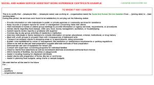 social and human service assistant work experience certificate