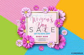 design poster buy womens day sale background design with beautiful colorful flower