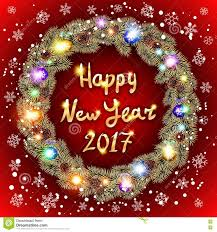vector christmas happy new year 2017 gold wreath red background