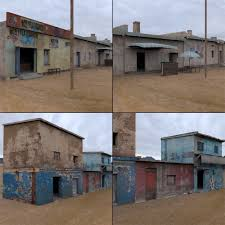 shanty town buildings 2 town blocks 3d asset cgtrader