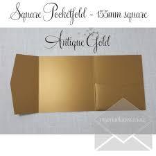wedding invitations nz antique gold metallic pocketfold wedding invitations 155mm