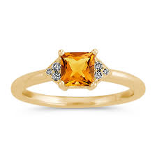 citrine engagement rings golden citrine and diamond ring in 14k yellow gold shane co