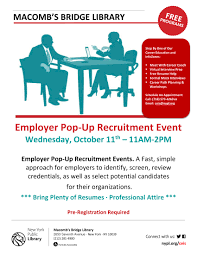 Free Job Seekers Resume by Ceis Macomb U0027s Bridge Library Employer Pop Up Recruitment Event