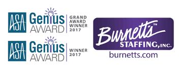 burnett u0027s staffing wins the 2017 asa genius grand award