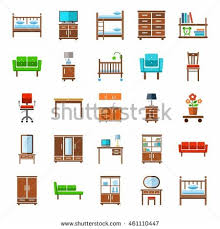 set flat cartoon office house furniture stock vector 609831413
