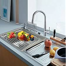 kitchen sink drainer tray amazon com elsky over the sink foldable roll up dish drying rack