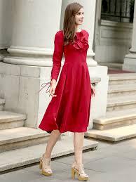 choice red lace up ruffle long sleeve midi skater dress free