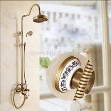 Brass Shower Faucets Wholesale And Retail Promotion New Antique Brass Rain Shower