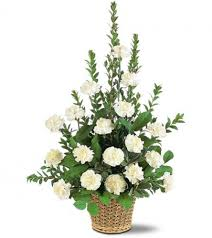 funeral arrangement white carnation basket funeral arrangement in lauderhill fl a