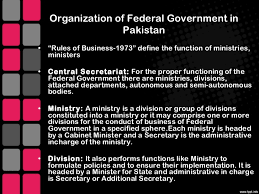 Define Cabinet Departments Structure Of Federal Government Of Pakistan