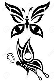 two butterfly tribal tattoos royalty free cliparts vectors and