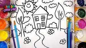 how to draw and paint a house for kids to learn coloring and