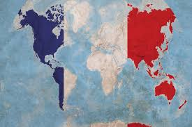 france flag map of the world