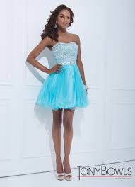 tony bowls 2014 white pink blue strapless beaded tulle baby doll