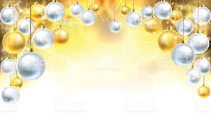 gold and silver baubles background stock vector more