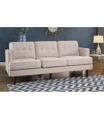 sofas clinton mid century tufted sofa ivory