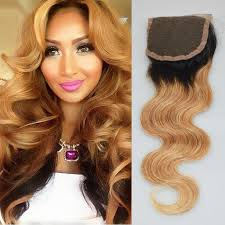 sew in with lace closure ombre lace closure wave honey t1b 27 two tone