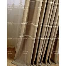 Burlap Grommet Curtains Patterned Embroidery Burlap Country Bedroom Long Curtains