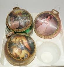 3 vintage masters on silk glass ornaments krebs glass
