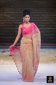 arong saree beige and orange embroidered and appliqué cotton saree aarong