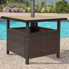 patio umbrella stand wicker rattan outdoor furniture garden deck