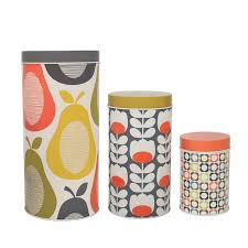 funky kitchen canisters orla kiely set of 3 canister tins featuring signature prints
