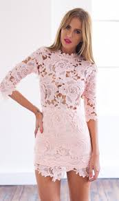 light pink bodycon dress pink 3 4 sleeve high neckline lace bodycon dress