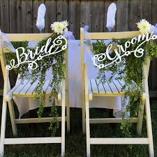 Bride And Groom Chair Signs Wedding Chair Signs Decoration Bride U0026 Groom With Floral Accents