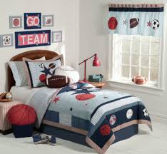 scoreboard above kid single bed aside matching nightstand paired bedroom large size red table lamp on nightstand aside single bed with sport theme bedding