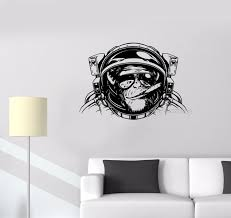 tattoo home decor wall sticker monkey astronaut space helmet diving decor vinyl