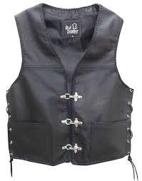 biker vest mens leather waistcoat biker vest sides laced up fish hook