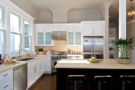 Kitchen Cabinets With Windows Flooring Kitchens With White Cabinets Also Double Hung Windows