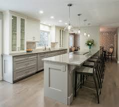 top cabinets different color than bottom home trend to the two toned kitchen