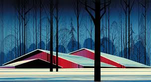 Red Barn Santa Ynez Eyvind Earle Art For Sale