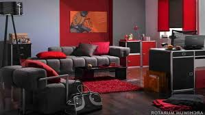 Grey Velvet Sofas Red White And Grey Living Room Parquet Flooring Above Mosaic Rug