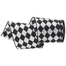 checkered ribbon black white harlequin wired edge ribbon 3 hobby lobby 915090