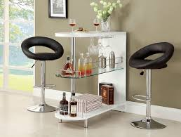 Glass Bar Table And Stools 3pc White Lacquer Mini Server Bar Table 2 Adjustable Bar Stools