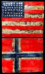 Norweigan Flag American Flag Norwegian Flag Encaustic Pinterest