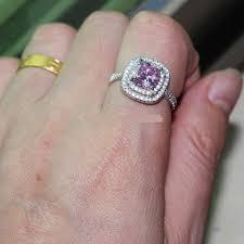 8mm diamond pink sapphire simulated diamond 925 sterling silver band