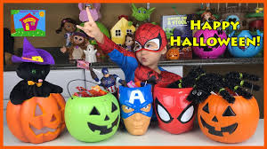big spider man surprise toys eggs halloween candy buckets