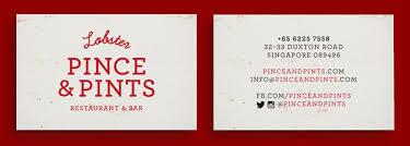 Singapore Business Cards Pince U0026 Pints Restaurant Identity By Studio Bravo
